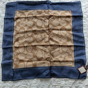 NWT Silk Coach Navy Blue & Tan Logo Neck Scarf